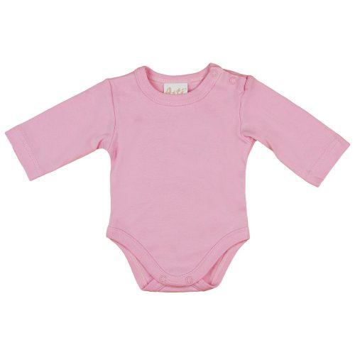 Egyszínű| hosszú ujjú baba body rózsaszín