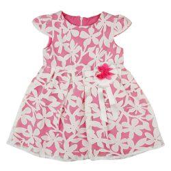 Alkalmi virágos rövid ujjú baba ruha