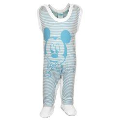 Biopamut Disney Mickey ujjatlan kék-bézs csíkos rugdalózó 74