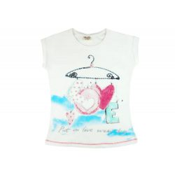 Kislány Love feliratos csillogós rövid ujjú póló vaj (méret:110-128)