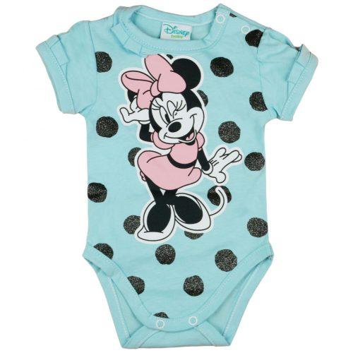 Disney Minnie pöttyös-csillámos rövid ujjú baba body kék