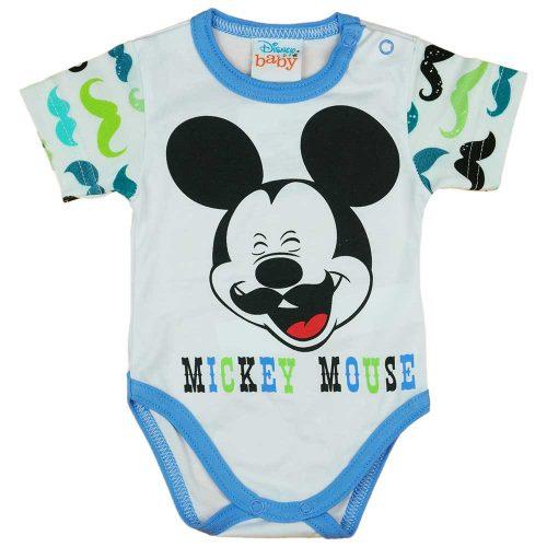 Rövid ujjú baba body bajszos Mickey egér mintával kék
