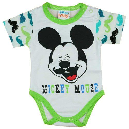 Rövid ujjú baba body bajszos Mickey egér mintával zöld