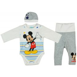 Disney Mickey csíkos, csillagos 3 részes (sapka+body+nadrág) szett