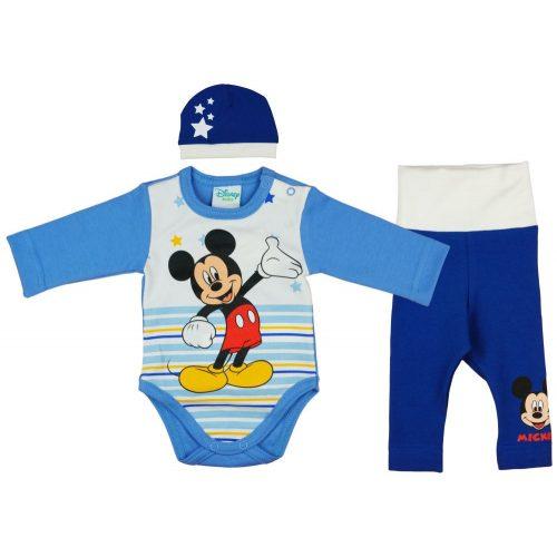 Disney Mickey csíkos  csillagos 3 részes (sapka+body+nadrág) szett