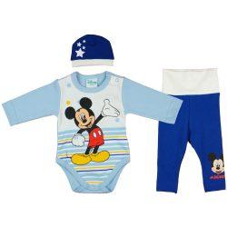 Disney Mickey csíkos| csillagos 3 részes (sapka+body+nadrág) szett