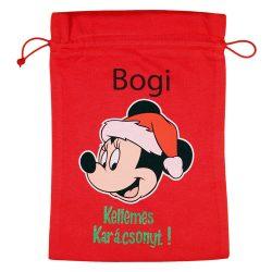 Disney Minnie textil mikulás zsák egyedi felirattal