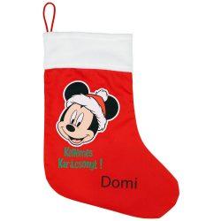 Disney Mickey textil mikulás csizma egyedi felirattal