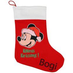 Disney Minnie textil mikulás csizma egyedi felirattal