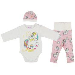 Unicorn Queen Unikornis lányka bébi 3 részes nadrág/body/sapka szett