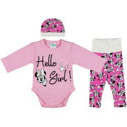 Disney Minnie 3 részes (sapka+nadrág+body) szett Hello Girl!