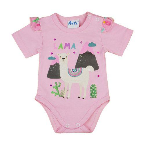 Láma mintás| fodros kislány baba body (kombidressz) rózsaszín