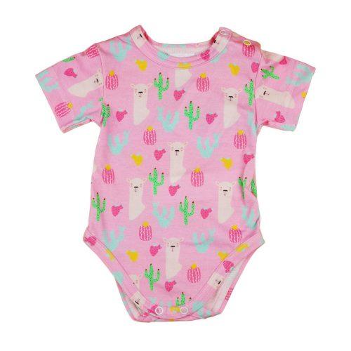 Láma és kaktusz mintás kislány baba body (kombidressz) rózsaszín