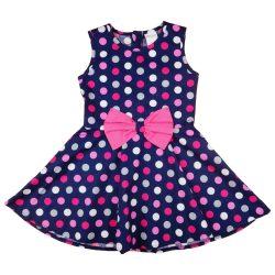 Pöttyös kislány ruha pink masnival