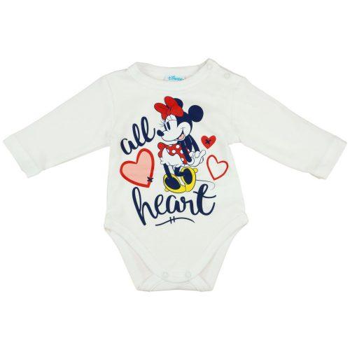 Disney Minnie hosszú ujjú vállon patentos baba body krém
