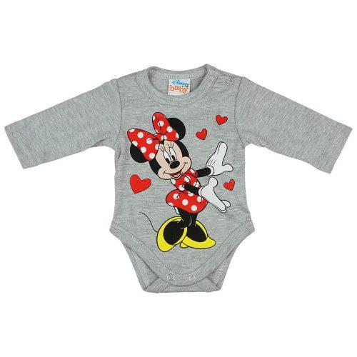 Disney Minnie szívecskés hosszú ujjú baba body szürke