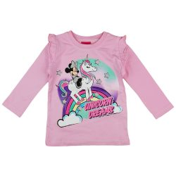 Disney Minnie és unikornis vállán fodros hosszú ujjú póló