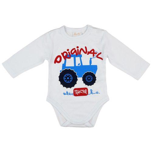 """Original tractor"" feliratos traktor mintás hosszú ujjú baba body fehér"
