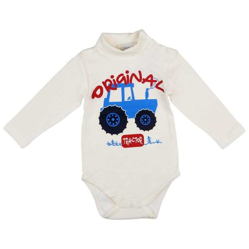 """Original tractor"" feliratos traktor mintás hosszú ujjú baba body krém"