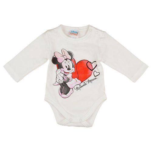 Disney Minnie hosszú ujjú baba body krém