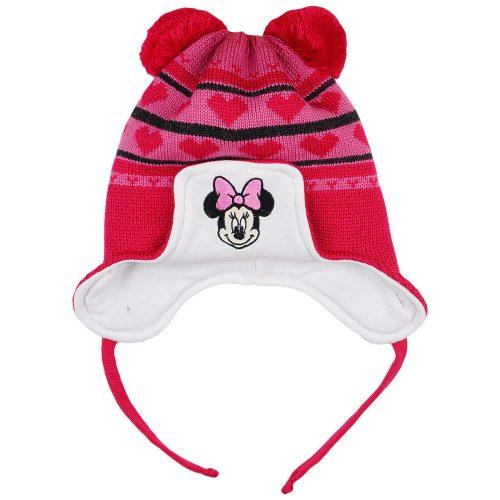 Disney Minnie szívecskés| kötött| bélelt| bojtos sapka