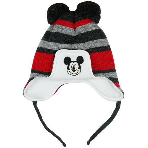 Disney Mickey csíkos  kötött  bélelt  bojtos sapka