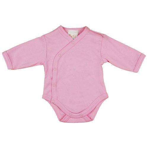 Egyszínű| hosszú ujjú elöl patentos baba body rózsaszín