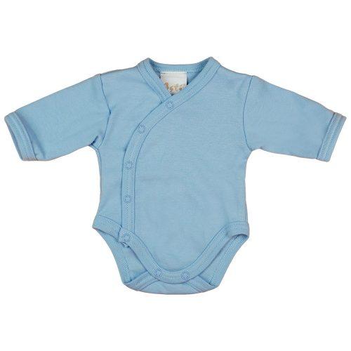Egyszínű  hosszú ujjú elöl patentos baba body kék