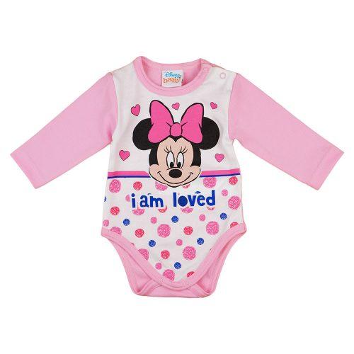 Disney Minnie szívecskés  pöttyös hosszú ujjú baba body rózsaszín
