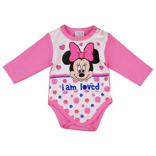Disney Minnie szívecskés| pöttyös hosszú ujjú baba body pink