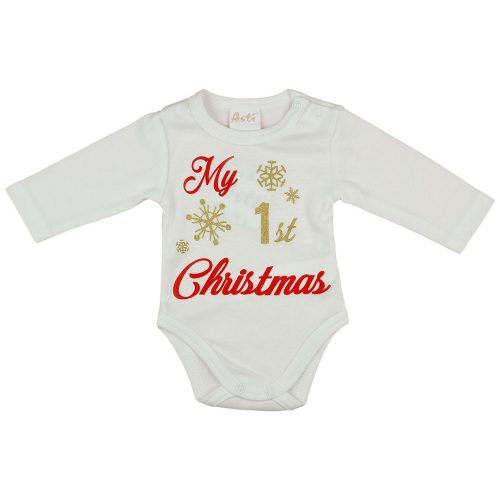 """My first Christmas"" feliratos| glitteres hosszú ujjú baba body fehér"