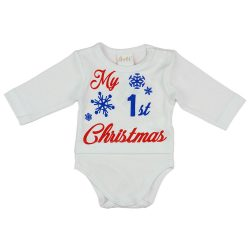 """""""My first Christmas"""" feliratos hosszú ujjú karácsonyi baba body, kombidressz"""
