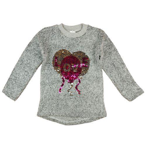 Flitteres-átfordítós szükre kislány pulóver