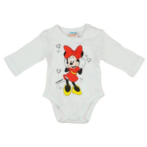 Disney Minnie szivecskés hosszú ujjú baba body fehér
