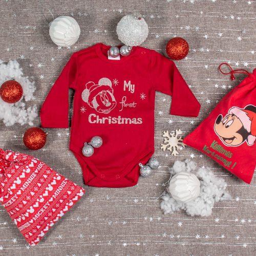 "Disney Minnie ""My first Christmas"" feliratos hosszú ujjú karácsonyi baba body kombidressz piros"