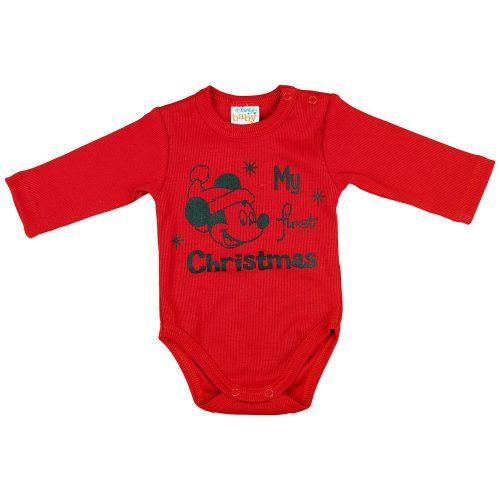 """Disney Mickey """"My first Christmas"""" feliratos hosszú ujjú karácsonyi baba body  kombidressz piros"""