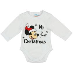 "Disney Mickey ""My first christmas"" feliratos karácsonyi baba body"