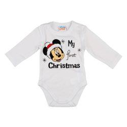 """Disney Minnie """"My first christmas"""" feliratos karácsonyi hosszú ujjú baba body"""