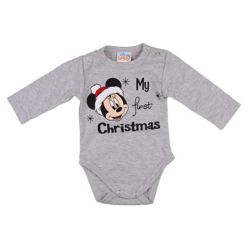 "Disney Minnie ""My first christmas"" feliratos karácsonyi hosszú ujjú baba body szürke"