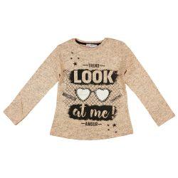 Feliratos meleg pamut lányka pulóver