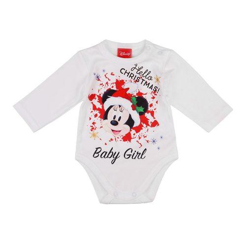 "Disney Minnie ""Hello Christmas"" feliratos hosszú ujjú baba body fehér"