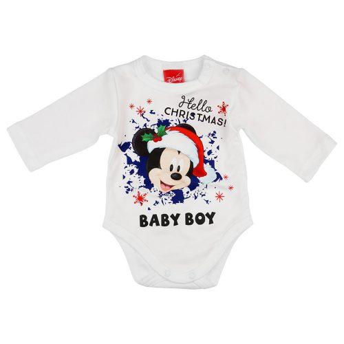 "Disney Mickey ""Hello Christmas"" feliratos hosszú ujjú baba body fehér"