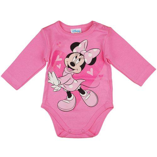 Disney Minnie szívecskés hosszú ujjú baba body pink