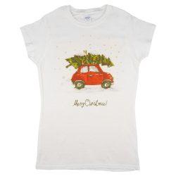 Karácsonyi vintage autós női póló