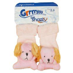 Állatfigurás csörgős baba zokni