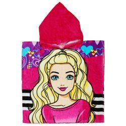 Barbie mintás kapucnis fürdőponcsó