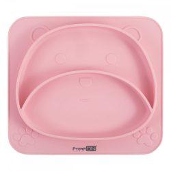 FreeON szilikon tányér Mackó - Rózsaszín