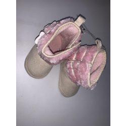 Bubaba babacipő tépőzáras, béléses 6-9 hó - Rózsaszín, hópehely