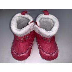 Bubaba babacipő tépőzáras, béléses 9-12 hó - Rózsaszín, hópehely