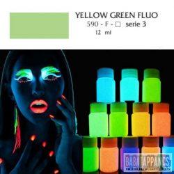 """UV fényben világító fluoreszkáló akril festék - """"Yellow green"""" - 12ml, OEM"""